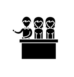 jury trial black icon sign on isolated vector image