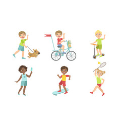 kids summer outdoor activities set cute boys and vector image