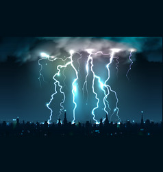 Lightning strikes cityscape composition vector