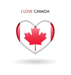 Love canada symbol flag heart glossy icon vector