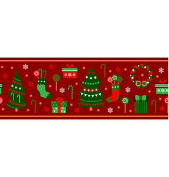 merry christmas decorations elements seamless vector image