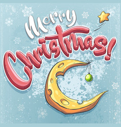 merry christmas with cheese vector image