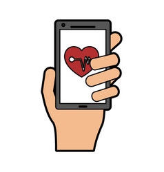 Mobile heart rate monitor icon image vector