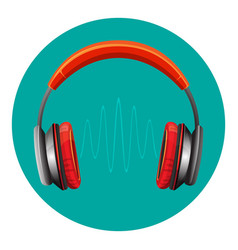 modern loud headphones with sound wave between vector image