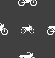 Motorbike icon sign Seamless pattern on a gray vector image