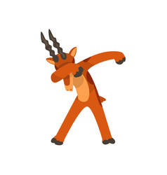 Mountain goat standing in dub dancing pose cute vector