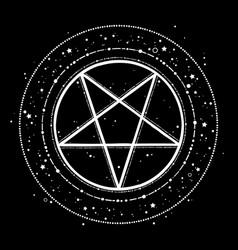 Mystical pentagram and round frame stars vector