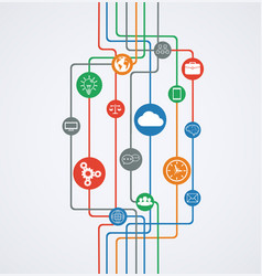 network connections information flow with icons vector image