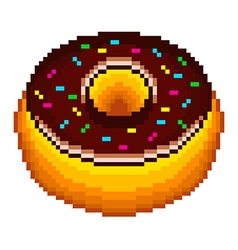 Pixel donut isolated vector