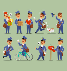 postman cartoon man character courier vector image