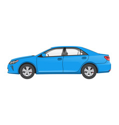 practical modern car in blue corpus side view vector image