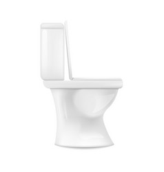 Realistic white ceramic toilet from side view vector