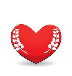 Red heart with leaf vector image