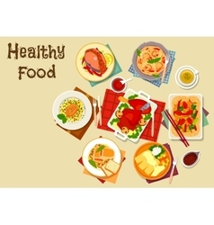 Seafood and meat dishes with vegetables icon vector