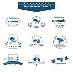 Seafood logos template vector