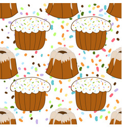 seamless pattern with easter cakes festive vector image