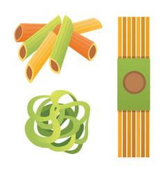 Set italian pasta in cartoon style vector