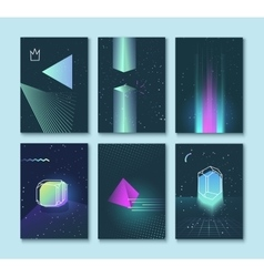 Set of backgrounds neon space 80s style vector