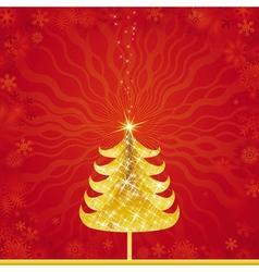 Shining golden christmas tree vector