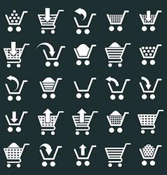 Shopping cart icons set supermarket shopping vector image