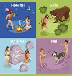 Stone age concept icons set vector