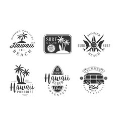 Surf club retro logo templates set hawaii beach vector