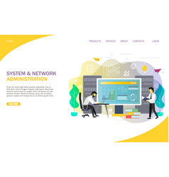 System administrator landing page website vector