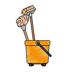 Toilet trolley with broom and mop vector