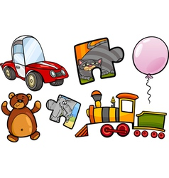 Toys objects cartoon set vector