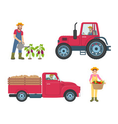 Tractor and lorry machinery vector
