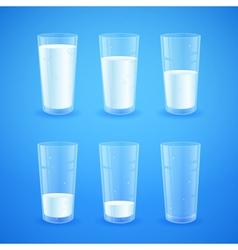 Transparent realistic glasses of milk vector image