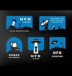 Ufology and space searches emblem logo vector