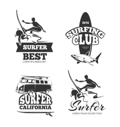 Vintage black surf graphics emblems and labels vector
