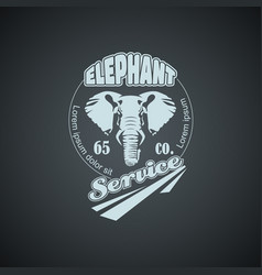 Vintage retro logo with elephant vector