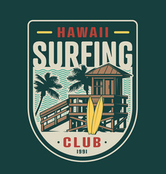 Vintage surfing club badge vector