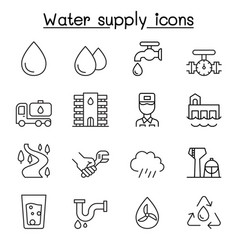 water supply system icon set in thin line style vector image