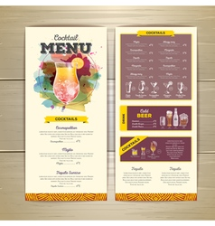 Watercolor cocktails menu design vector