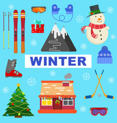 winter objects on blue background vector image