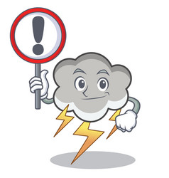 with sign thunder cloud character cartoon vector image