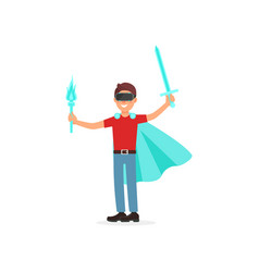 young man in a cape with swords playing video vector image