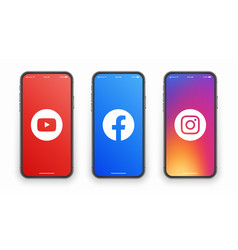 Youtube facebook instagram logo on iphone screen vector