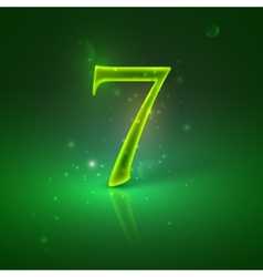 7 green glowing number seven vector