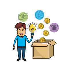 Businessman with bulb idea in the hand and cash vector