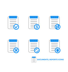 documents reports icons on white vector image