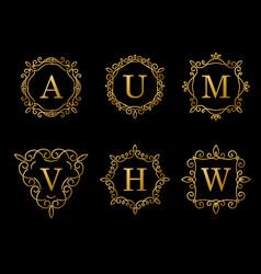 elegant gold monogram design on black background vector image
