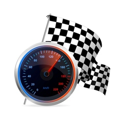 Racing Speedometer and checkered flag vector image