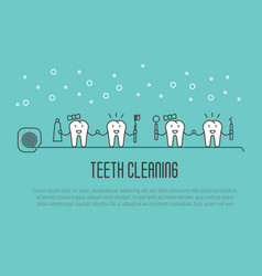 teeth cleaning concept in thin line style vector image
