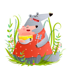 bear young mother or nanny with infant vector image