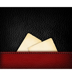 Black leather background with retro cardboards vector image