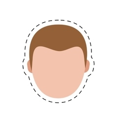 Character delivery man head cut line vector